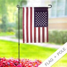 12x18 Embroidered American Usa Garden Flag + Pole D2