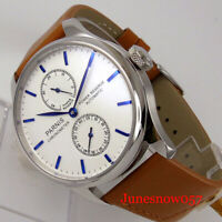 PARNIS Luxury Power Reserve Automatic Men Watch Leather Band ST Movement
