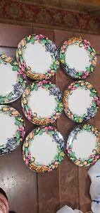 8 x  Vitromaster Plate Sue Zipkin Rain Forest 1993 Jungle Animals Salad Plate