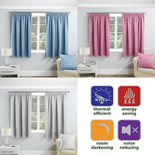SERENITY Thermal Woven Block-Out Ready Made Tape Top Pencil Pleat Curtains Pair