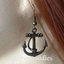 Bretagne Boucles d'oreilles ancre de marine couleur bronze