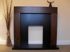ELECTRIC MANGO WALNUT BROWN WOOD SURROUND BLACK FIRE FIREPLACE SUITE SET  - 54""