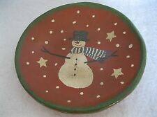 PRIMITIVE SNOWMAN REDWARE PLATE BY RED OAKS POTTERY SIGNED BY PAM AMBRUST