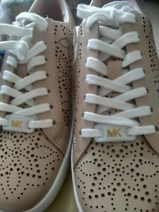 Michael Kors Catelyn Lace Up Lasered Leather Trainers in Ballet Pink UK 3