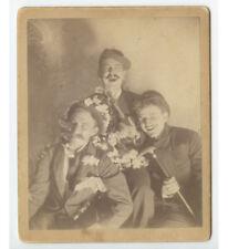 3 Men Smiling/Having Fun, Cab Card Photo, Walking Sticks, Flowers, Hats
