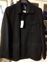 Coat Jacket Mens Sz M NWT Cole Haan Italian Wool Topper Black