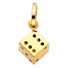 Solid 14K Gold Yellow Gold 3-D Single Game Dice Die Charm Pendant