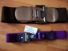 2 stretchy fashion belts, 1 brown & 1 purple (new)