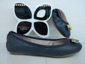 Butterfly Twists Twist Chloe Navy Blue Gold Bow Flat Fold Up Ballerina Shoe