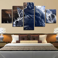 Abstract 3D Wolf Animal Framed 5 Panel Canvas Print Wall Art Painting Home Decor