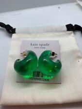 $58 Kate Spade Gold  tone wide resin hoop green earrings A306