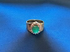 Carved Emerald Victorian Scarab Ring. 15 Rose Cut Diamonds.18 Carat Gold Band.