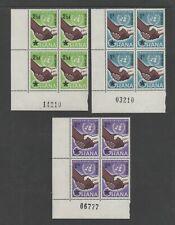 GHANA 1958 UNITED NATIONS DAY - BLOCKS OF FOUR *VF MNH*
