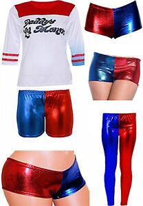 Ladies Halloween Fancy T Shirt Costume Dress Hot Pants Plus Size Harley Quinn