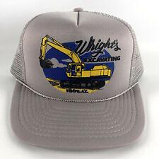 Vintage Snapback Hat Wright's Excavating - Tempe, AZ Gray Foam Mesh Trucker