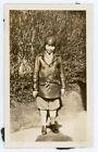 Vintage 1924 Snapshot Photo Lady in Leather Jacket Knickers Aviatrice Motorist