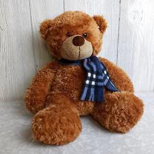 """Aurora Brown Teddy Bear Plaid Winter Scarf Plush Stuffed Animal Toy 12"""""""