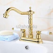 "Gold Color Brass 4"" Centerset Bathroom Sink Faucet Mixer Basin Tap Unf431"