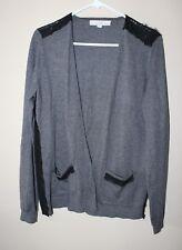 Ann Taylor LOFT Grey Black Lace Design Open Cardigan Sweater Size L Large EUC