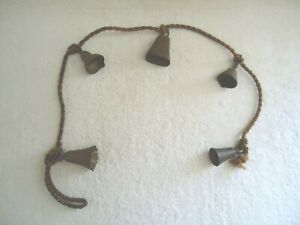 """Vintage Lot Of 5 Made In India Brass Bells On A Rope """" GREAT COLLECTIBLE ITEM """""""