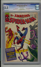 Amazing Spider-Man #21 CGC 3.5 VG- Unrestored Marvel Human Torch Beetle OW Pages