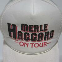 Merle Haggard ON TOUR 1980s White Vintage Padded Mesh Trucker Snapback Hat
