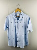 Yd. Men's Short Sleeved Button Up Casual Shirt Size 2XL Blue Toucan Bird