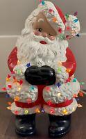 Atlantic Mold Santa Lights Lighted Ceramic Winking Kitschy Christmas Vintage