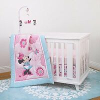 Disney Baby Girls Minnie Mouse Crib Bedding Comforter Set + Musical Mobile New
