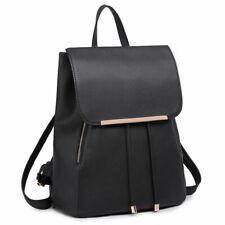 Ladies Girls Black Backpack PU Leather Shoulder School Bag Rusksack