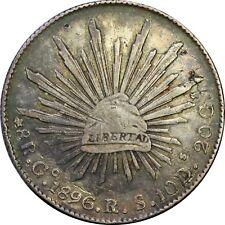 Mexico 8 Reales Go/As 1896/1 R.S./M.L. Guanajuato, Scarce. KM# 377.8 (SKU5)