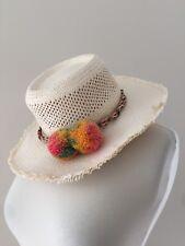 New Jcrew Straw Hat With Rainbow Pom Poms G5343 S M Small Medium 464bff563547