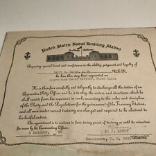 1935 Usn Petty Officer Appointment Certificate, San Diego Nts