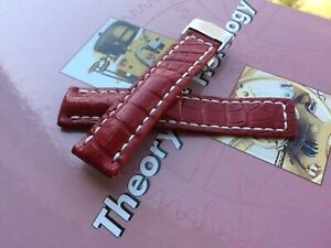 Breitling Watch Strap 22mm HANDMADE Alligator Red  + clasp