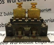 Vintage 1970's Hand Made S. Sper Bijou Wooden Castle Liquor Chest Decanter Shot