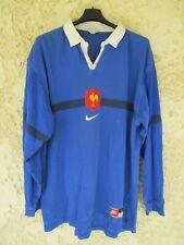 Maillot rugby QUINZE de FRANCE 1998 NIKE coton shirt bleu home vintage L