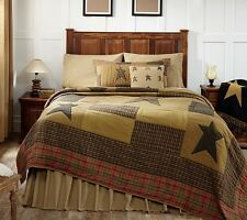 STRATTON STAR 4pc Queen QUILT SET : RUSTIC BROWN CABIN PRIMITIVE TAN COMFORTER