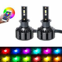 2x H7 72W Car LED RGB Headlight APP Bluetooth Control Bulb Drive Fog Lamp Module