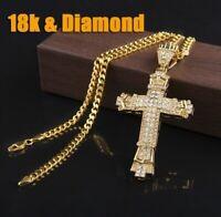 18 Karat Gold Halskette Anhänger Kreuz Herren Damen 18K Vergoldung Luxus Neu