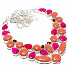 "Orange Turquoise, Ruby, Garnet 925 Sterling Silver Necklace 18"""