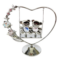 Crystocraft Teddy Bears Heart Crystal Ornament Swarovski Elements With Gift Box