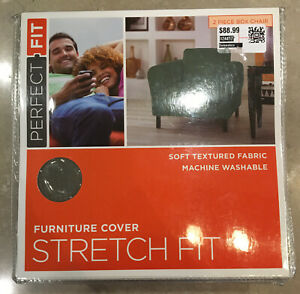 NEW! Perfect Fit Stretch 2 Piece Textured Squares BOX CHAIR COVER in Sage Green