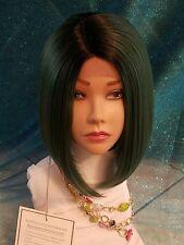 Fashion Synthetic  Short Bob Straight Wig 1b/ Green Heat Resistant