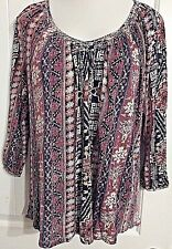 Lucky Brand Women's Multi Color Peasent Boho Top Blouse Size M
