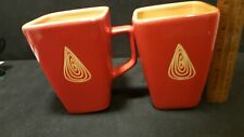 2 (Two) DISARONNO Red / Orange Coffee Mugs Cups Great Condition