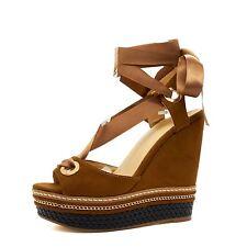 New Ladies High Wedge Heel Platform Sandals Ankle Strap Summer Espadrilles 3-8