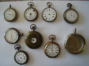 Vintage Edwardian Pocket Watches 8 in Total Job Lot +Goliath CaseSpares/Repairs
