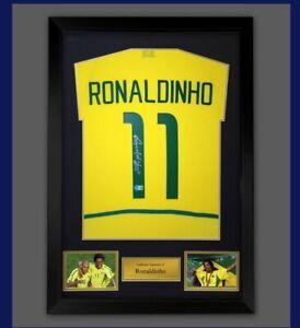 Framed Ronaldinho Signed Brazil Football Shirt £299 Becketts Authenticated