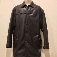 Andrew Marc New York Mens Size XL Dark Brown Black Driving Coat Leather Jacket