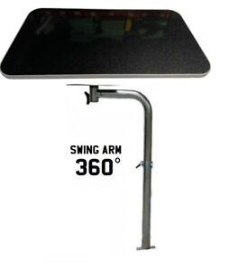 Swivel Swing Out Table Leg + TABLE Caravan Camper Conversion T5 Grey/Blk Glitter